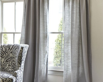 Grey Cotton Curtains, 30% off Sale, Solid Grey Storm Cotton Curtains 2 Panels, Window Treatments/ Curtains