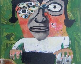 Outsider Cat Art Collage Print - Abstract Eyes Girl, Cat - Raw Naive Green Folk Artwork Wall Decor Brut w Vintage Car