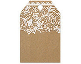 Lace Printed Gift Tag, Pretty Kraft and Lace Printed Gift Card, Favor Tags, Bridal Shower Tags, Kraft Gift Tag, Tags For Bridal Favors,