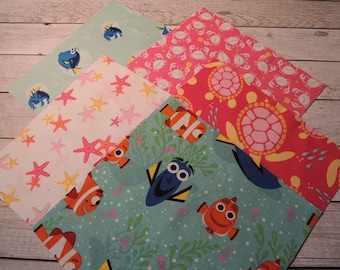 Rag Quilt Kit, Easy to Make, Nemo Inspired, Girly, Ocean Creatures, Personalized, Bin A