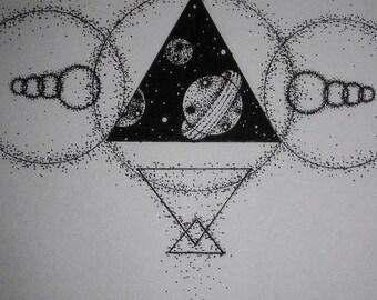 Geometric Space Tattoo Design