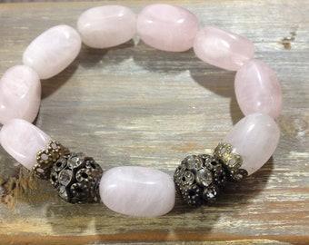 Rose Quartz Bracelet - Antique Brass and rhinestone focal details- Fashion bracelet- Gift for her