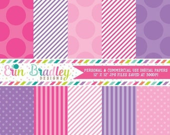 80% OFF SALE Digital Paper Pack Personal and Commercial Use Pink and Purple Polka Dots and Stripes