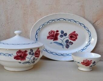 Vintage French Digoin Sarreguemines Tureen, Platter and Cafe Au Lait Bowl