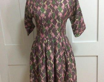 1950/60's Harlequin Dress