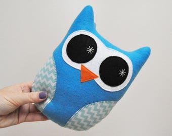 Vibrant Blue Plush Owl With Chevron Stripes - READY TO SHIP