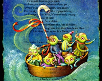 Nursery sailing art print ~8x6, Jumblies: Cute creatures in sailboat. Whimsical illustration of Edward Lear. Nautical fantasy art, Letter J