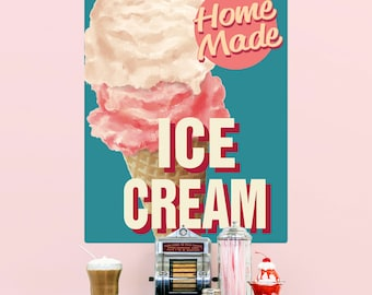 Home Made Ice Cream Parlor Cone Wall Decal - #58439