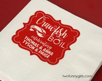 Personalized Party Napkins for Crawfish Boil {White Napkin} - Couples Crawfish Boil