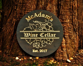 Wine Sign Barrel Decor/ Wine Barrel Sign/ Wine Barrel Decor/ Personalized Bar Sign Personalized Barrel Bar Sign Gift Winery Vineyard Sign