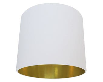 Off White and Brushed Gold Lampshade