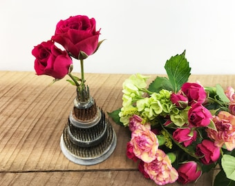 Stack of Round Vintage Flower Frogs//Four Round Metal Flower Frogs with Brass Spikes