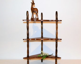 Vintage Corner Wood Shelves 1960's