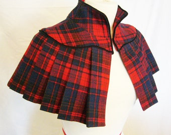 Custom made Vintage Inspired Pleated Wool Capelet
