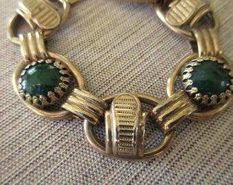 60s 70s vintage gold tone link bracelet- green glass cabochons