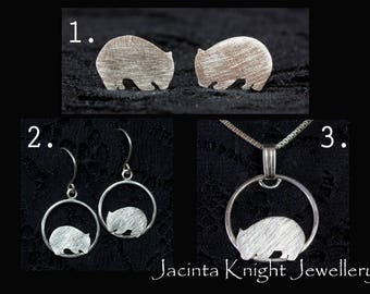 Sterling silver wombat studs, dangle earrings or pendant