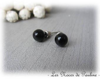 Beads 8 mm pierced black Stud Earrings