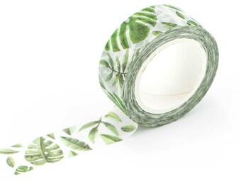 monstera leaf washi tape, banana leaf plant washi tape, green washi tape, mid-century palm leaf, tropical leaf bullet journal accessories