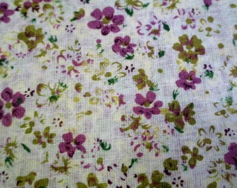 1 piece of beige fabric has flowers purple and Brown 20x25cm 100% cotton