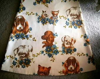 One of a kind handmade from fifties fabric vintage puppy dog skirt fits  Australian Size 10