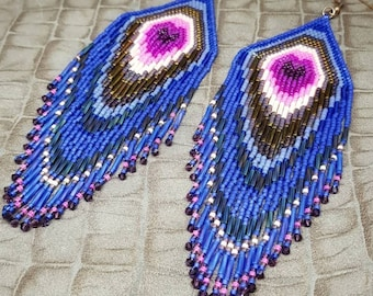 Earrings peacock blue and pink