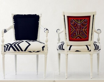 Upholstered Chairs beaded by Kenyan Tribe