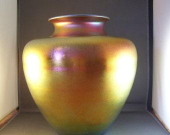 "Steuben Aurene Vase Frederick Carder 10"" Tall"