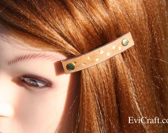 Handmade Leather French hair barrette, beige and gold Leather Hair clip, women Hair Accessory, hair fashion, brown leather accessory