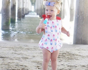 Baby Girl Popsicle Romper- Popsicle Romper, USA romper, 4th of July romper, red white and blue girls outfit, red white and blue popsicle