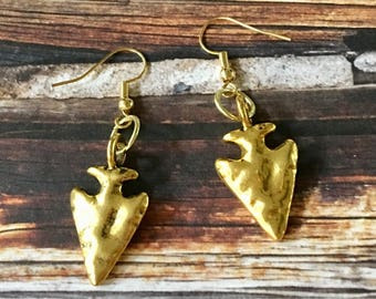 Arrowhead Earrings Shiny Gold Pewter Hammered Dangle