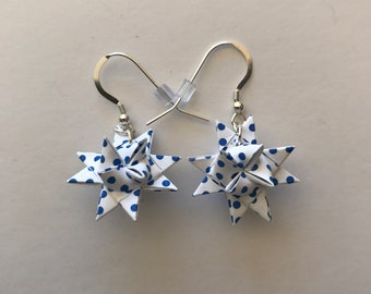 Moravian Star Earrings—Blue Polka Dots