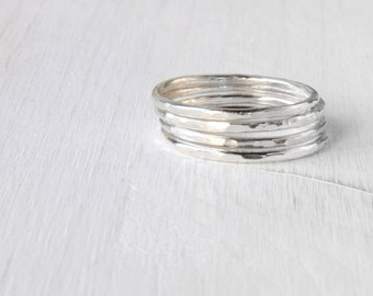 GET 1 FREE WITH Four Stacking silver rings / hammered stackable rings in shiny silver / simple silver skinny stacking rings modern Handmade
