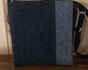 Wool Cross-Body Messenger / Herringbone Wool Purse / Cross Body Wool Purse / Wool Purse / Wool Messenger Bag / Crossbody Wool Purse