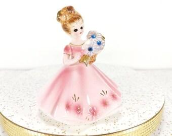 Vintage Josef Original Girl in Pink Dress - September Sapphire Girl - Pink Dress, Blue Flowers - Brown Hair Figurine