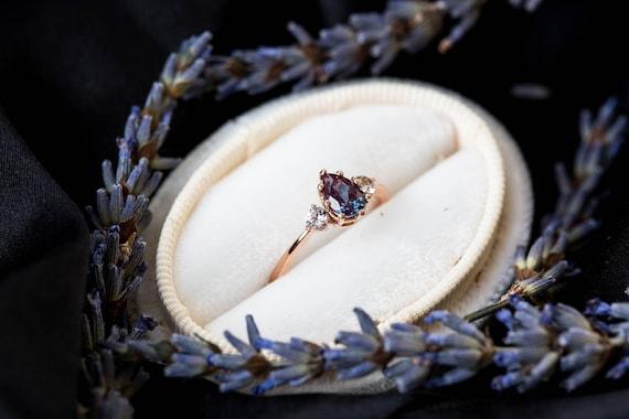 Alexandrite sapphire three stone engagement ring, pear engagement ring, three stone ring, rose gold alexandrite ring, alternative engagement