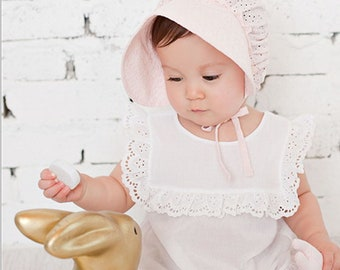 Beanie Baby baptism bonnet pink Broderie Anglaise, traditional christening, baby hat, girl baptism, hat lace