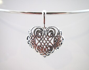 Sterling Silver Celtic Heart Knot Collar Pendant - For Skye Wire Designs Solid Wire Collars