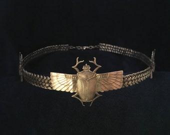 Three Scarabs on Multi Braid Brass Band Circlet Headpiece Crown