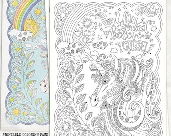 Unicorn Coloring Page, Unicorn Party Coloring Sheet, Printable Gift, Birthday Party Favor, Instant Download, Fantasy JPG Print