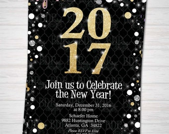 New Year's Eve Party Gold & Silver Glitter Modern 2017 Invitation Digital Download/Prints(Please See Details Below)