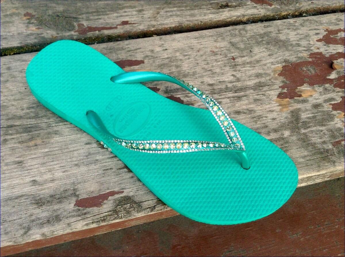 3da9c61bdf2748 Green Havaianas Slim Flip Flops Custom Crystal US 5 6