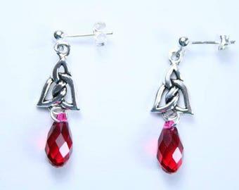 Scarlet Letter Swarovski Red Teardrop Crystal, Antique 925 Silver Celtic Link Earrings, 925 Sterling Silver Post/Stud Wires/3mm Ball Ends