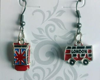 British Car and Bus Dangle Earrings