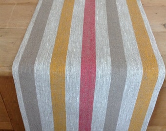 linen table runner / linen runner / striped runner / rustic linen runner