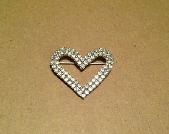 """Vintage Heart Brooch with Faux Diamonds in a Silver Setting.  1 and 1/2"""" inch"""
