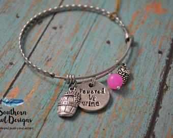 powered by wine, wine charm bracelet, hand stamped wine bracelet, wine bangle bracelet, gift for her, wine bracelet, wine charm
