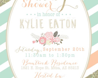 Mint, Peach and Gold Baby Shower invitation