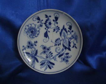 Vintage Blue & White Pin Dish Hand Painted Design