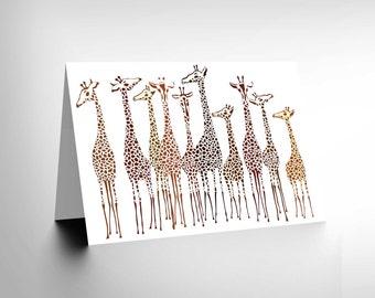 Giraffe card - Illustration Group Of Giraffes Art Birthday Blank Blank Card CL1052