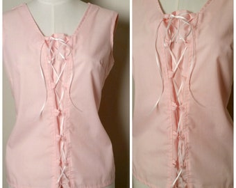 Vintage 1960s Pink Corset Laced Front Back Button Sleeveless Summer Blouse Top Large to XL